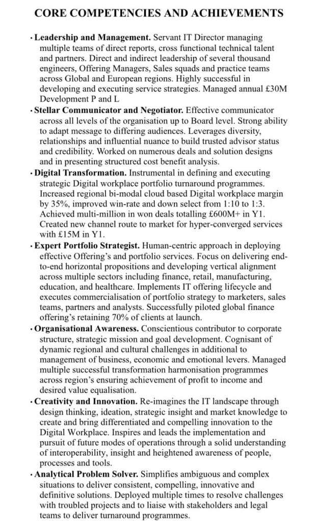 core competencies and achievements on resume    cv
